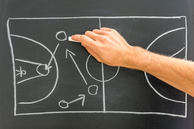 Close-up van coach basketbal spelstrategie puttend uit zwarte bord.