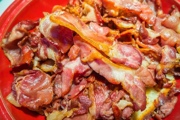 Close-up van crispy bacon organic.