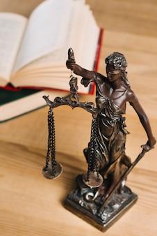 Close-up van dame van rechtvaardigheid en wetsboeken op houten bureau