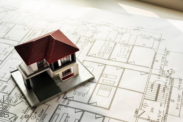 Close-up van de blauwdruk van het huisplan