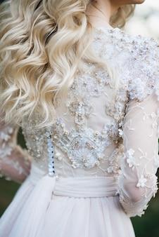 Close-up van de bruiloft kanten jurk