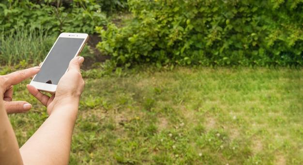 Close-up van de hand van een vrouw die een smartphone gebruikt om een bericht te verzenden tegen de achtergrond van groen gras in de tuin in de zomer, banner