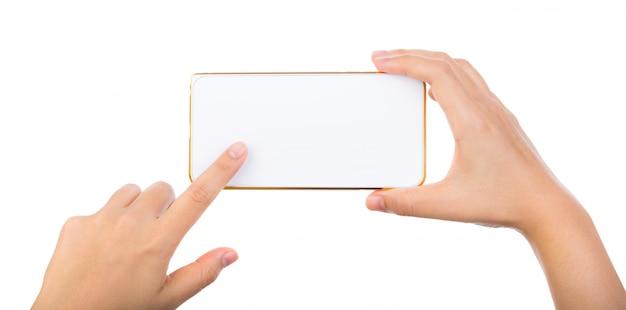 Close-up van de handen met behulp van een smartphone