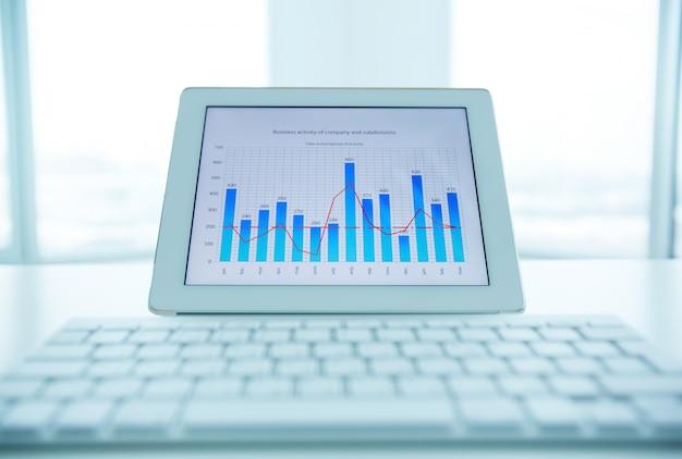 Close-up van de laptop met een jaarlijkse evolutie