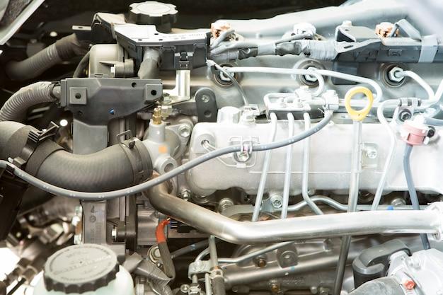 Close-up van de motor van een auto