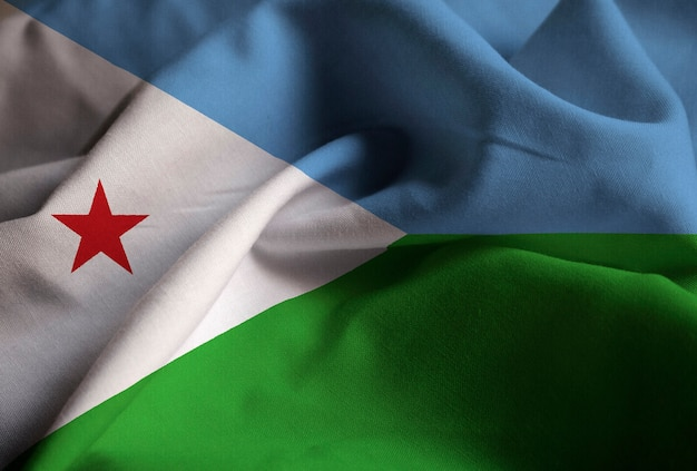 Close-up van de ruches djibouti vlag, djibouti vlag waait in de wind