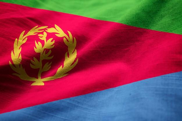 Close-up van de ruches eritrea vlag, eritrea vlag waait in de wind