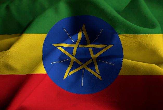 Close-up van de ruffled vlag van ethiopië, de vlag die van ethiopië in wind blazen