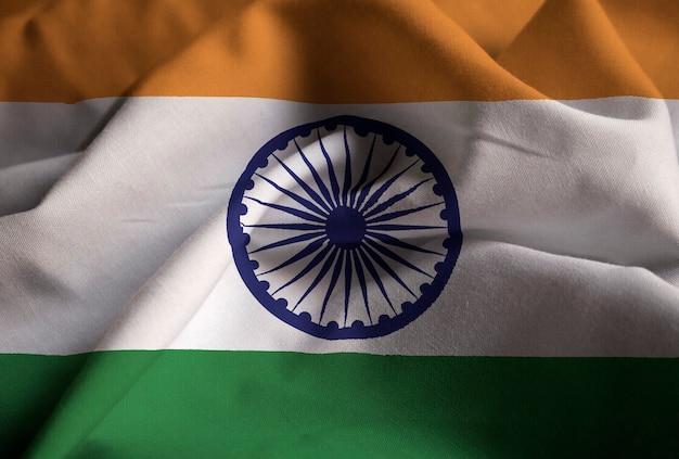 Close-up van de ruffled vlag van india, de vlag die van india in wind blazen