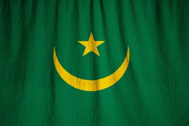 Close-up van de ruffled vlag van mauritanië, mauritanië vlag waait in de wind