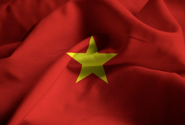 Close-up van de ruffled vlag van vietnam, de vlag die van vietnam in wind blaast