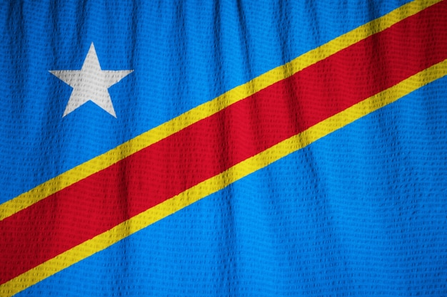 Close-up van de ruige democratische republiek congo vlag