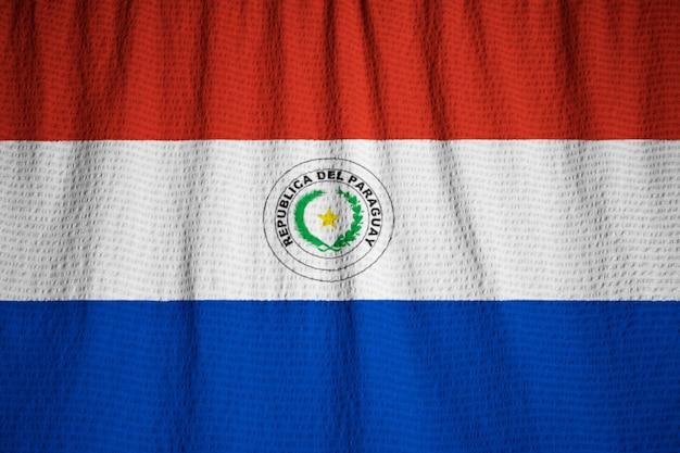 Close-up van de ruige paraguay vlag, paraguay vlag waait in de wind