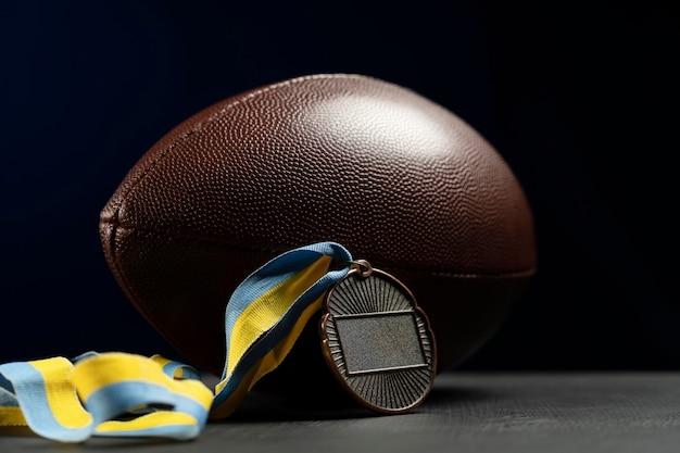 Close-up van de samenstelling van de rugbybal