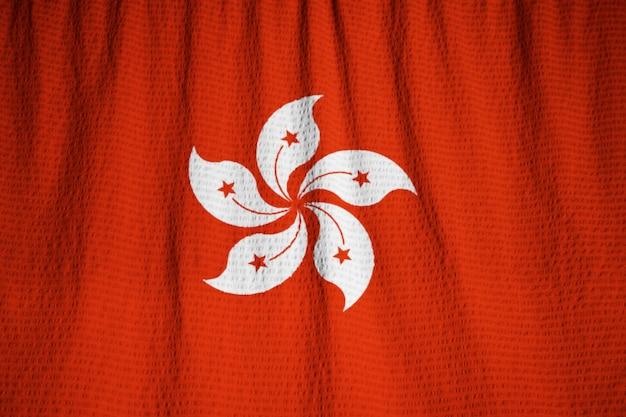 Close-up van de verstoorde vlag van hong kong, hong kong vlag waait in de wind