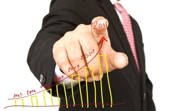 Close-up van de wijsvinger met de hand getekende grafiek