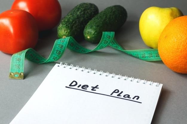 Close up van dieetplan en eten op tafel