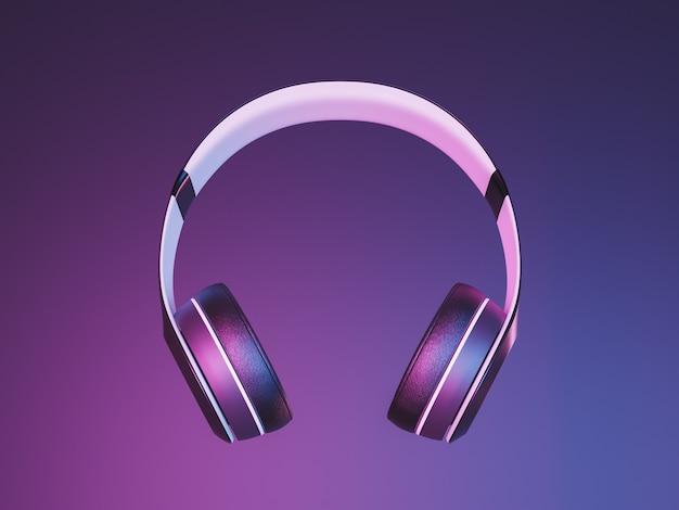 Close-up van draadloze hoofdtelefoons die in de lucht hangen met neonverlichting. 3d render