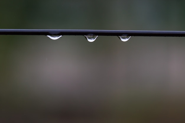 Close-up van een druppel water tegen een natuurgebied.