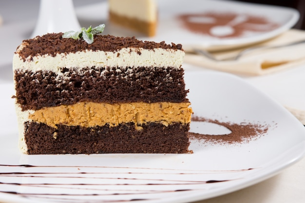 Close-up van een groot stuk vers gebakken gelaagde chocoladeroomtaart gegarneerd met cacaopoeder, geserveerd aan tafel als dessert in een restaurant