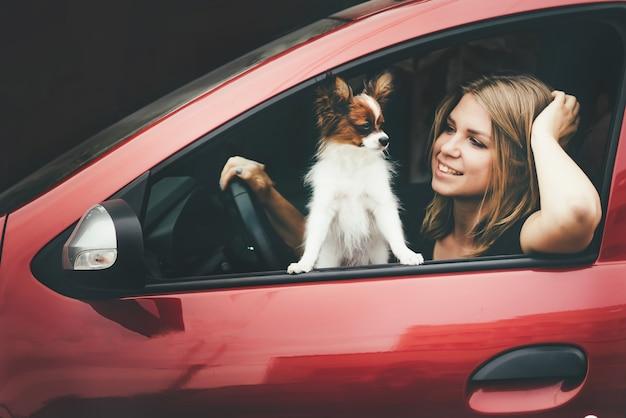 Close-up van een jong meisje en een witte rode hond in de auto.