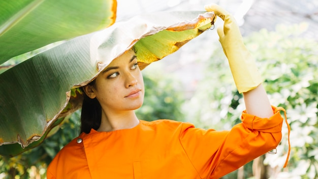 Close-up van een jonge vrouwelijke tuinman die zich onder banaanblad bevindt