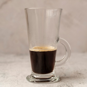Close-up van een koffieglas