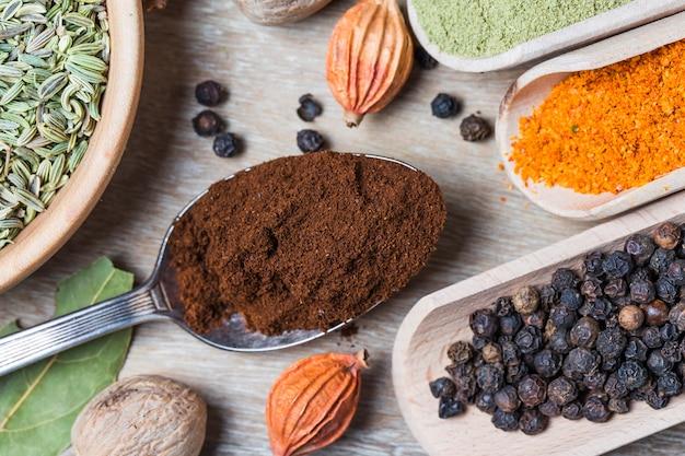 Close-up van een lepel met gemalen koffie naast andere zaden