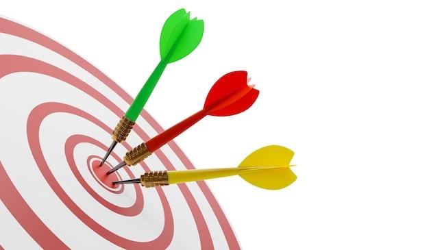 Close-up van een schot in de roos op een muur met drie pijlen in het doel