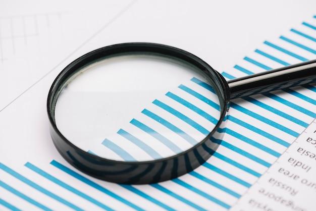 Close-up van een vergrootglas op blauwe staafgrafiek