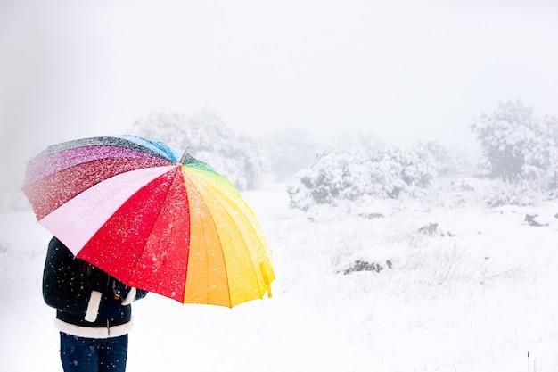 Close up van een vrouw met kleurrijke paraplu wandelen in het bos tijdens een sneeuwval.