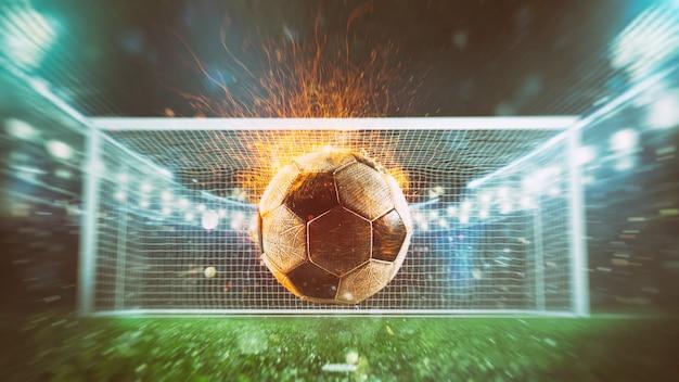 Close-up van een vurige voetbal die met kracht wordt geschopt in het stadion dat een doelpunt maakt