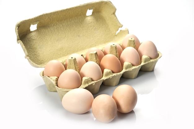 Close-up van eieren in beeldverhaal op witte achtergrond