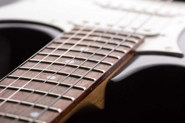 Close-up van elektrische gitaarsnaren