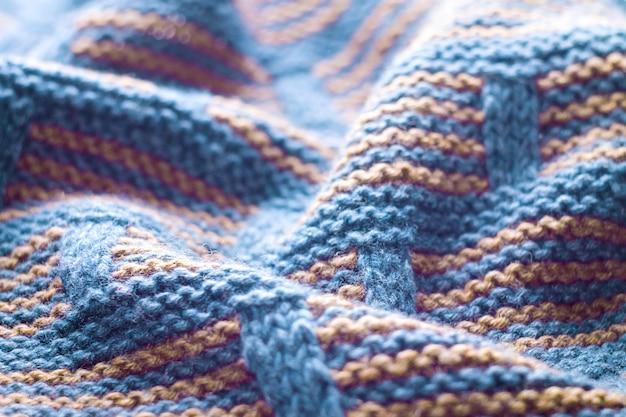 Close-up van gebreide wollen doek. achtergrond