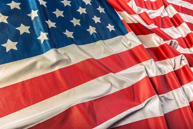 Close-up van gegolfde amerikaanse vlag