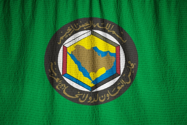 Close-up van gegolfde gulf cooperation council vlag, gcc vlag waait in de wind