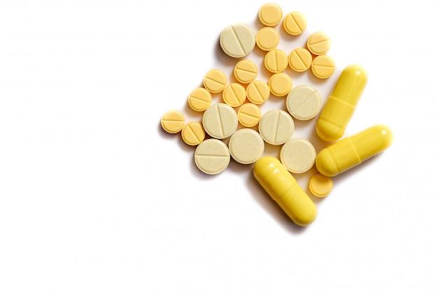 Close-up van gele tablet
