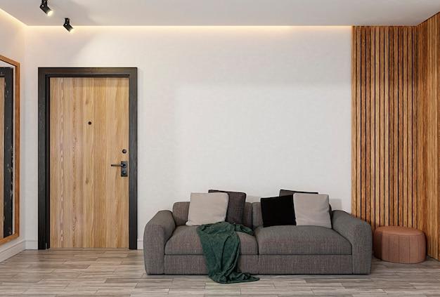 Close-up van gesloten houten deur in de kamer, het heeft een spiegel, een bank en verticale houten palen