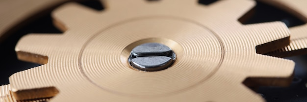 Close-up van gouden reserveonderdeel van uitrusting in uurwerk