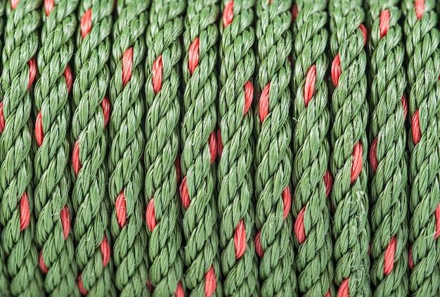 Close-up van groene nylon kabeltextuur