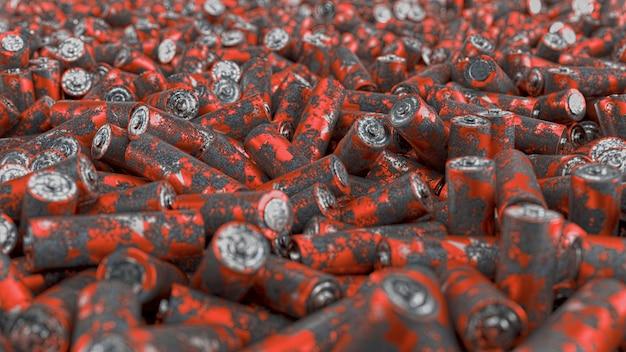 Close up van groot pak verroeste batterijen met zachte focus. 3d render illustratie.