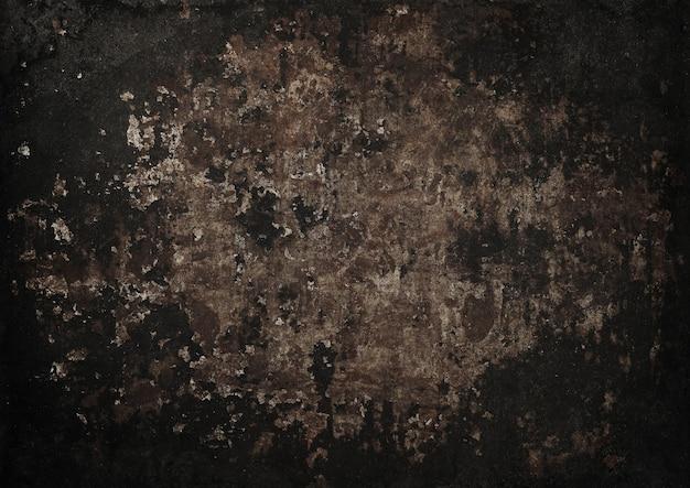 Close-up van grunge bruin abstracte ongelijke achtergrond textuur van vintage verweerde gecorrodeerde roestige metalen oppervlak met donkere vignet frame