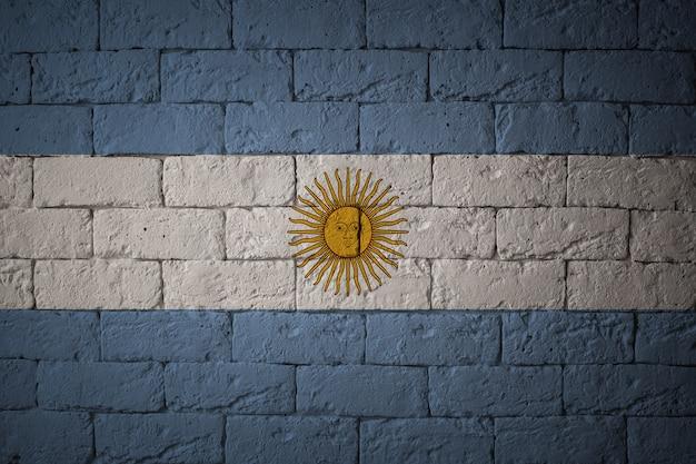 Close-up van grungevlag van argentinië. vlag met originele verhoudingen