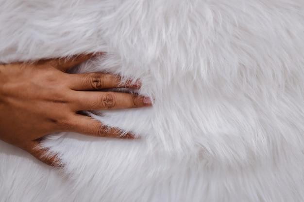 Close-up van hand wat betreft de textuur van de bontstof. glad pluizig en zijdeachtig