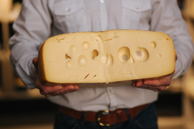 Close up van hansome man grote plak kaas maasdam in de hand houden. kaas met grote gaten. achtergrond van planken met kaas
