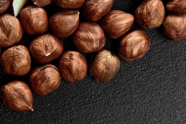 Close-up van hazelnootpitten voedsel frame achtergrond macro gedetailleerde close-up