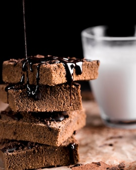 Close-up van heerlijke chocoladetaart