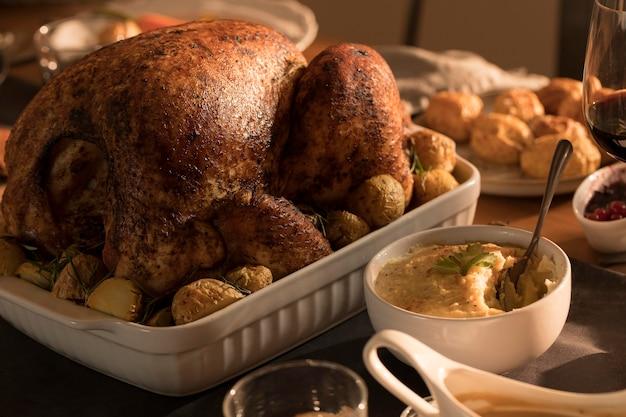 Close-up van heerlijke thanksgiving maaltijd