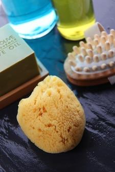Close-up van het baden en massagetoebehoren